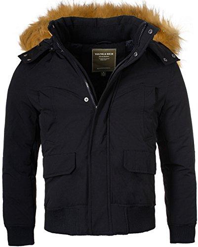 Young & Rich Herren Winterjacke JK-448 warm gefütterte Männer Winter Jacke mit abtrennbarer Kunstfell-Kapuze, Grösse:M, Farbe:Schwarz