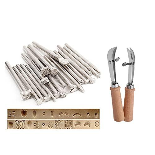 Juego de sellos de diseño de cuero profesional, cortador de bordeadora ajustable, herramientas de estampado de cuero para bricolaje (1 juego)