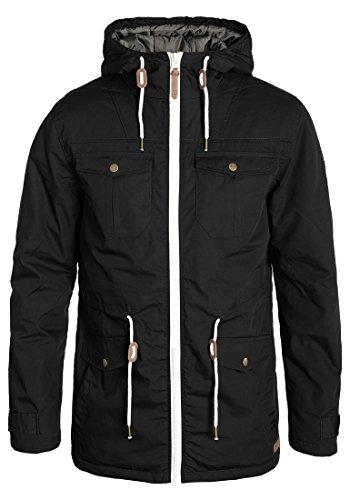 !Solid Tilas Herren Übergangsjacke Parka Mantel Lange Jacke Mit Kapuze, Größe:XL, Farbe:Black (9000)