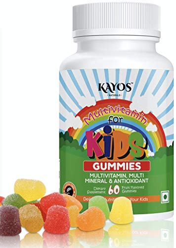 Kayos Multivitamin Gummies for Kids, Teenagers, Adults with Vitamin C, D, B12, Zinc, Magnesium for Immunity, Brain & Growth - Gluten Free for Men & Women - 60 Gummies