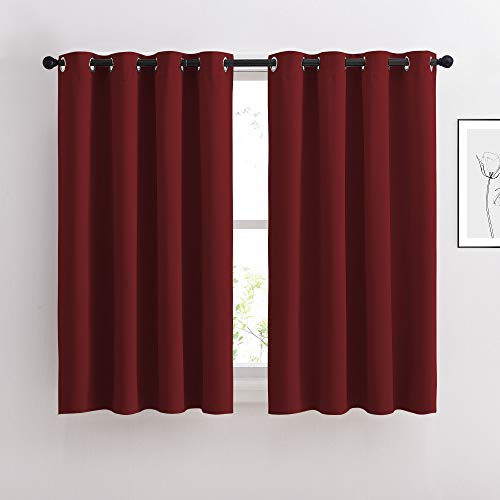 NICETOWN Blackout Draperies Curtain Panels - Thermal Insulated Solid Grommet Blackout Curtains/Panels/Drapes for Living Room(Burgundy Red, 1 Pair, 52 by 54-Inch)
