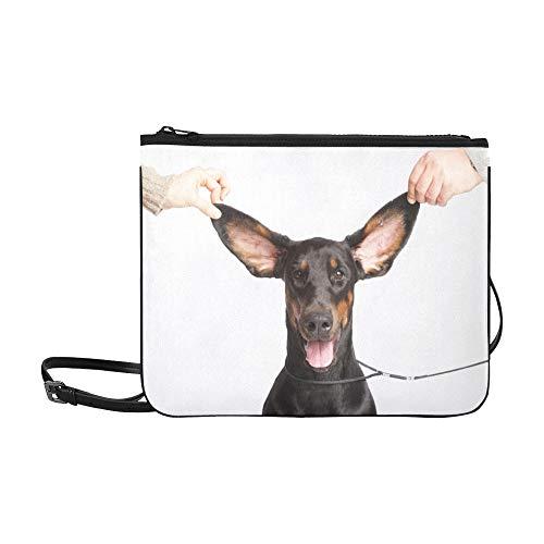 WYYWCY Basset Hound Mit Flying Ears Pattern Benutzerdefinierte hochwertige Nylon Slim Clutch Crossbody Tasche Umhängetasche