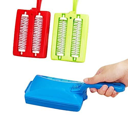 Alivier - 1 Cepillo de Limpieza portátil para alfombras, Limpiador de Suciedad, Doble Rodillo de plástico, Cepillo de Limpieza de Mano