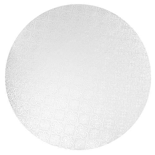 O'Creme White Wraparound Cake Pastry Round Drum Board 1/4 Inch Thick, 16 Inch Diameter - Pack of 10