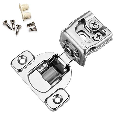 Soft Close Cabinet Hardware Hinges - homdiy HDSCH114SNB 1-1/4in Hinges with Built-in Dampers 15 Pack Slow Close Hinges for Kitchen Cabinets