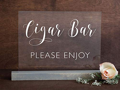 Cigar Bar Wedding Sign: Clear Acrylic Cigar Bar Sign on a Weathered Oak Wood Stand w/Hand Painted'Cigar Bar PLEASE ENJOY' – Wedding Reception & Rustic Wedding Decorations