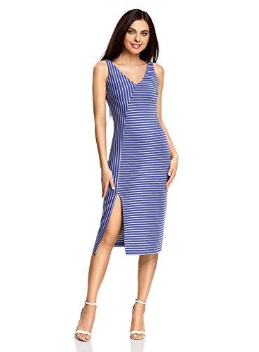 oodji Ultra Mujer Vestido de Corte Asimétrico con Abertura, Gris, ES 36 / XS
