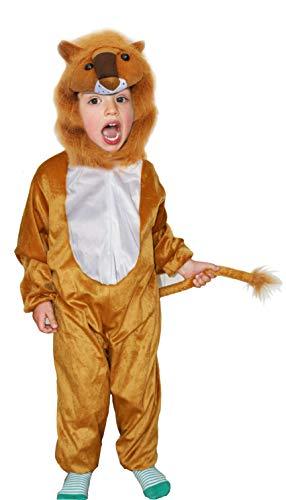 Fun Play - Disfraz de León para niños - Disfraz de Animal - Mono de una Pieza para Niños y Niñas - Disfraz para niños de 5-7 años (122cm)