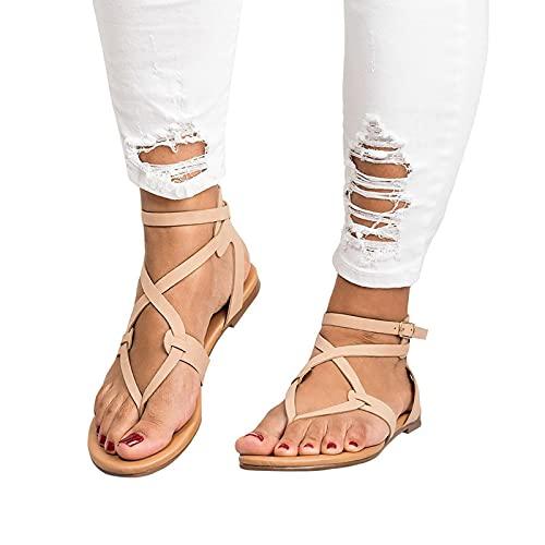 Women's Crisscross Strappy Flat Knee-High Gladiator Sandal - Flat Cross Strap Casual Summer Shoes (8, Beige -1)