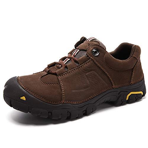 IENNSA Zapatillas de Senderismo Hombres Zapatos de Escalada Deportivos al Aire Libre Lace Up Cierre de Cuero sintético Antideslizante Durable (Fleece Forrado Opcional)