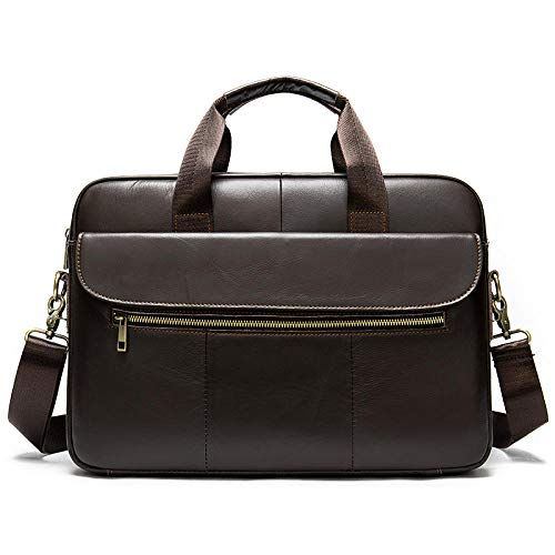 Haodong Männer Leder Tasche Männer Aktentasche Leder Bürotaschen für Männer Kuriertaschen für Laptoptaschen Business Aktentasche-Kaffee_Russische Föderation