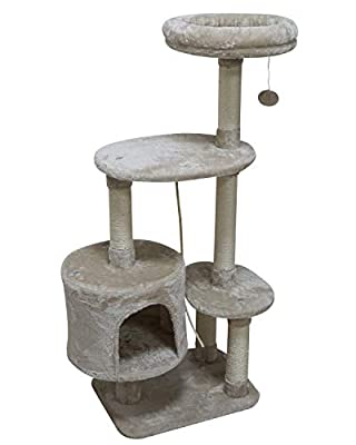 MIAO PAW 6BCat Tree Tower Condo Sisal Post Scratching Furniture Activity Center Play House Cat Bed Beige