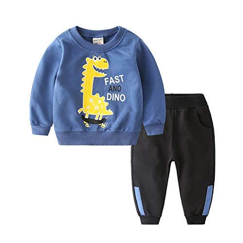 Coralup Kleinkind Jungen Mädchen Langarm Baumwolle Bekleidungssets Trainingsanzüge 18M-8T Gr. 110, blau