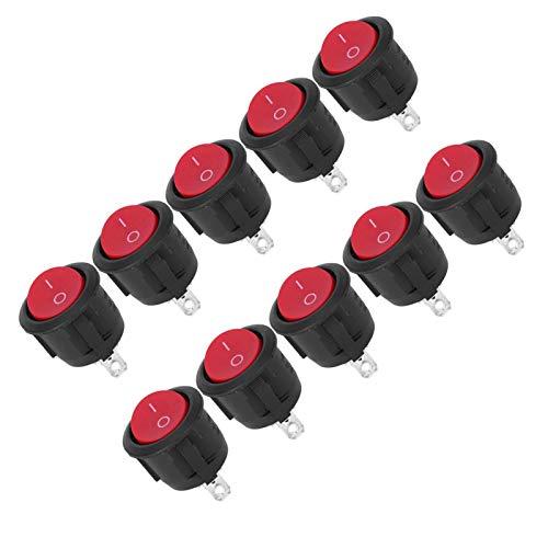 Interruptor basculante de Revestimiento de Zinc, 10 Piezas, Interruptor basculante de Barco Redondo para electrodomésticos, Interruptor basculante de 2 Pines y 2 Posiciones
