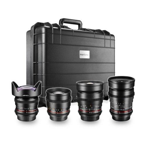 Walimex Pro VDSLR FF Video-Objektiv Set (inkl. 35mm Objektiv, 14mm Objektiv, 85mm Objektiv, 24mm Objektiv) für Nikon Vollformat
