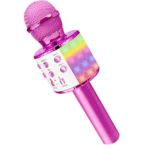 Microfono Karaoke, Wireless Bluetooth LED Flash Microfono con Altoparlante, Portatile Karaoke Player Compatibile con Dispositivi Android e iOS per KTV di Casa/Festa/Canto per Bambini (Fucsia)