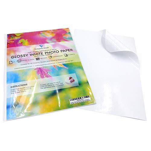Evergreen Goods Ltd Foto-100 Blatt A4 Weiß Premium Glänzend Selbstklebend / Sticky Back Label Bildauflösung Druckpapier Blatt