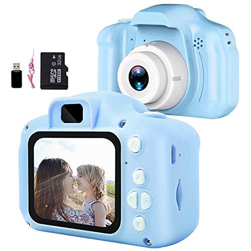 Aiboria Kinderspielzeug Kinder Digitalkamera für 3-9 Jahre alte Jungen Mädchen, Kleinkind Videorecorder 2 Zoll 1080P Geburtstagsgeschenke für 3 + jährige Kinder (inklusive 32G SD-Karte), Blau
