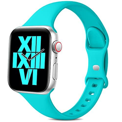 Jiamus Pulsera compatible con Apple Watch, 38 mm, 42 mm, 40 mm, 44 mm, silicona suave, correa fina de repuesto para iWatch Series 6 5 4 3 2 1 SE para hombre y mujer (42/44 mm)
