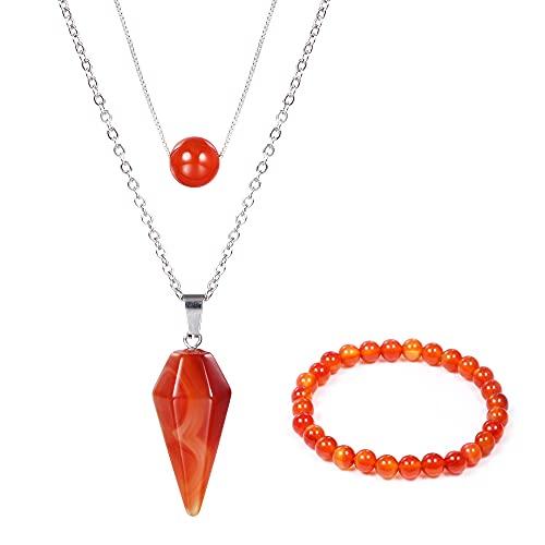 KISSPAT Collar vintage de cristal con colgante de cornalina con cadenas, cristaloterapia, cornalina, rojo, joyas para hombre y mujer, Acero inoxidable,