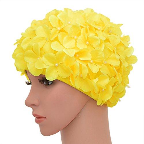 medifier Vintage Blumenmuster Retro Badekappe Badehaube für Damen, gelb