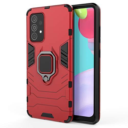 GOGME Funda para Xiaomi Poco F3 / F3 Pro, Shockproof Carcasa con 360 Grados Giratorio Anillo Kickstand y Soporte de Coche Magnético, Hard PC y Silicona TPU Tough Armor Case Cover. Rojo