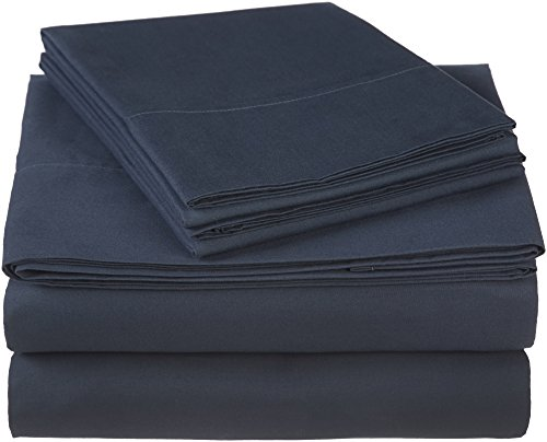 Pinzon 300 Thread Count Ultra Soft Cotton Bed Sheet Set, Queen, Midnight