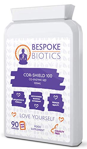 COR-Shield 100 Co Enzyme Q10 100mg High Absorption, 100% Natural Coenzyme Q-10 No Silicon Nor Titanium Dioxide UK Made 90 Capsules