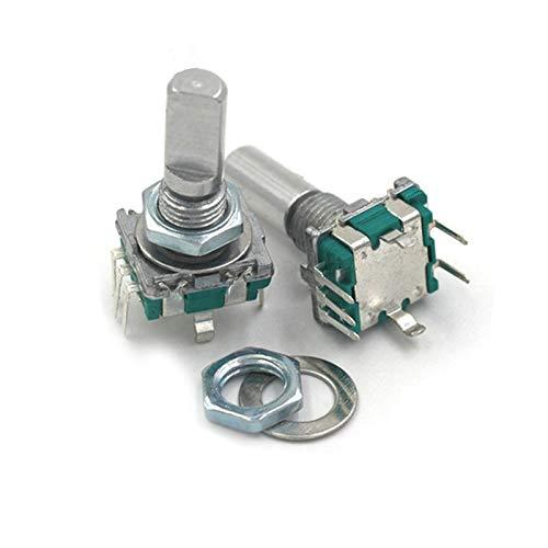 JSJJATQ Interruptores 5pcs / Lote 20 Posiciones Encoder rotatorio de 360 Grados EC11 W Push BOTÓN DE Pusher 5PIN Largo 15 / 20MM con un Interruptor de botón de pulsador Incorporado