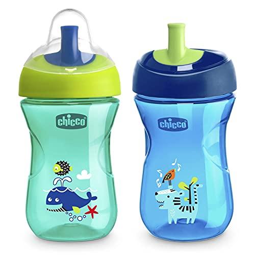 Chicco Advanced Cup Gobelet anti-goutte pour enfants, 266 ml, tasse Biberon 12 mois pour apprendre à boire, gobelet avec paille et bec ergonomique et valve facile à saisir, sans BPA, bleu ou bleu