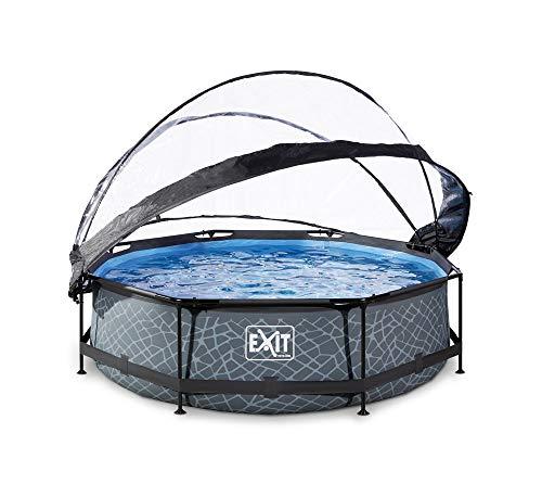 EXIT Stone Pool ø360x76cm mit Abdeckung und Filterpumpe - grau