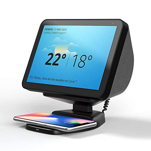 Supporto Echo Show 8 con Caricatore Wireless, Amazon Echo Show Supporto Magnetico Regolabile con Base Ricarica Wireless per Smartphone