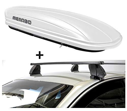 Dakbox VDPMAA320 320 liter afsluitbaar wit + dakdrager K1 MEDIUM compatibel met Mazda 3 (BM) (5-deurs) vanaf 14