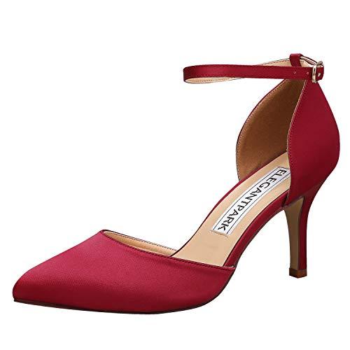 ElegantPark HC1811 Burgundy Heels for Women Ankle Strap High Heel Pumps Pointed Toe Shoes Satin Bridal Wedding Evening Party Prom Dress Shoes US 9.5