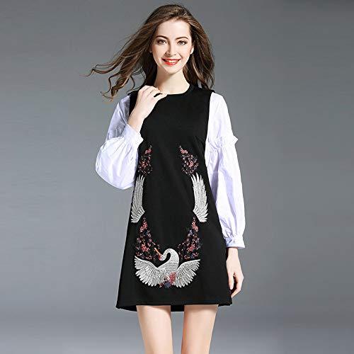 QUNLIANYI Bendjurk tule lange vrouwen sets Long Sleeve Blouse and Vest Dress Crane borduurwerk twee stuks suiker Elegant Wear