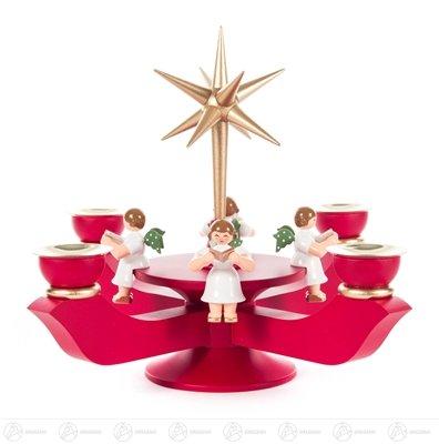 Adventsleuchter mit Stern und sitzenden Engeln, rot – Kerzenhalter – Holz – Handarbeit Erzgebirge – Höhe 19 cm - NEU