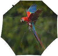 コンパクトトラベル折りたたみ傘サンレイン防風キッズレディースメンズレッドブルーオウム鳥の森-3Dアウタープリント2-11.5インチ折りたたみ後