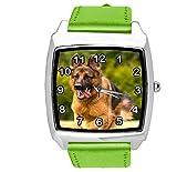 TAPORT® Reloj de cuarzo verde correa de cuero cuadrado con pastor alemán