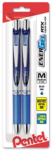 Pentel EnerGel Deluxe RTX Retractable Liquid Gel Pen, 0.7mm, Metal Tip, Blue Ink, 2 Pack (BL77BP2C)