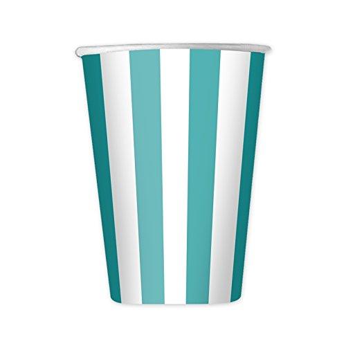 dimav srl Bicchieri Carta 8 pz Stripes Acqua Marina