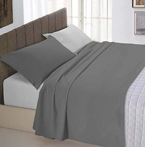 Italian Bed Linen Natural Color Completo Letto Doppia Faccia, 100% Cotone, (Grigio Chiaro/Fumo), Piazza e Mezza, 3 Unità