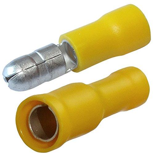 Aerzetix: 200 x Cosses Electriques - Cylindriques - Jaunes - Mâles-Femelles - Serrage - Isolées - Ø5mm - 4-6mm² - C11526C11530