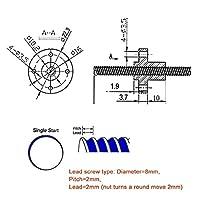 Gan 真鍮ナット、3Dプリンター部品ロッド、OD 8mmピッチ2mmリード線2mm 150 200mmリニアレールラウンドロッド付きT8リードスクリュー (Size : 1200mm)