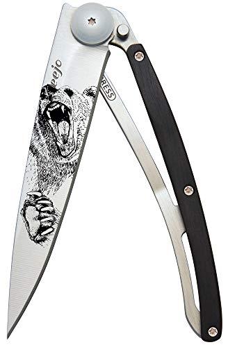deejo Taschenmesser Tattoo 37g Grizzly, Z40C13-Stahl, Liner-Lock, Ebenholz, Gürtelclip, Box