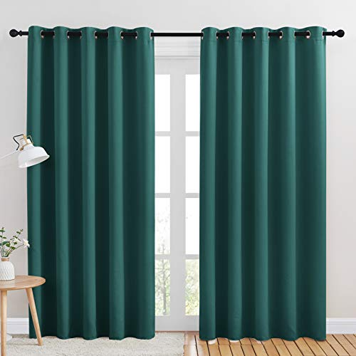 NICETOWN Window Curtain Panels, Thermal Insulated Solid Grommet Blackout Draperies / Drapes for Basement (Hunter Green, One Pair, 70 by 84-inch)