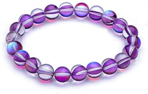 AnimeFiG Pulsera de Piedra Mujer, 7 Chakra Perlas de Piedra Natural Cuarzo púrpura Brazalete Elástico Joyería Yoga Energía Inspiración Encanto Difusor Mujer Pulsera Regalo para un Amigo