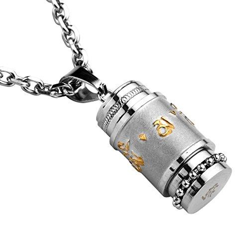 Jovivi Edelstahl Memorial Gebets Anhänger Om mani Padme hum Anhänger Kapsel Esche Halter Urne Anhänger Halskette Gold