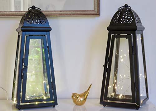Link Products - Lanterne in metallo e vetro, colore: Nero, set da 2, sagomate
