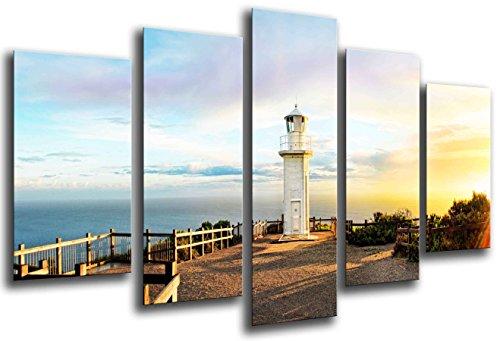 Cuadro Fotográfico Paisaje de faro en el Mar Tamaño total: 165 x 62 cm XXL, Multicolor