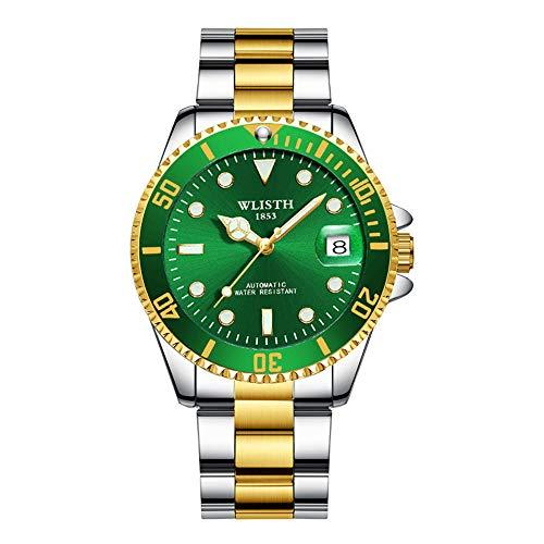 Cqing Automatische mechanische Armbanduhr wasserdichte Edelstahl-Armbanduhr für Herren, Selbstaufzug, Leuchtzifferblatt, Kalender, zweifarbige Business-Chronographenuhr mit verschraubter Krone,Green
